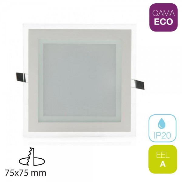 Downlight LED 7W Cuadrado Cristal
