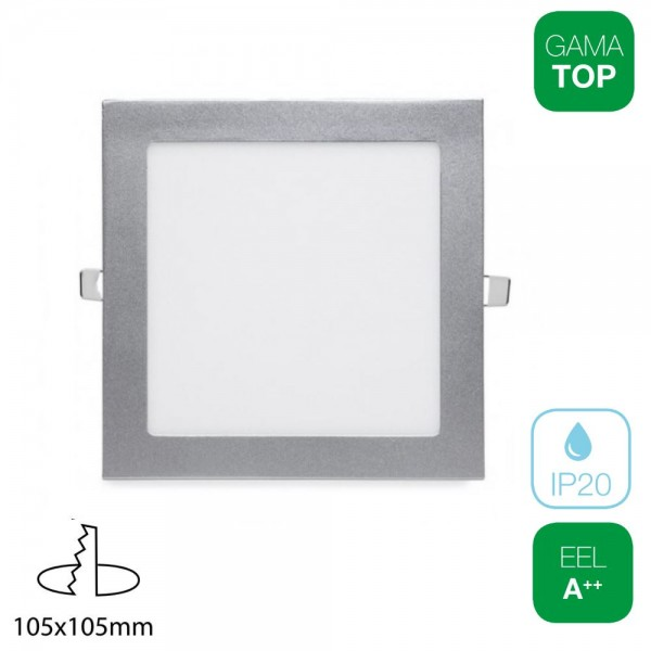 Downlight LED 7W Cuadrado Plata