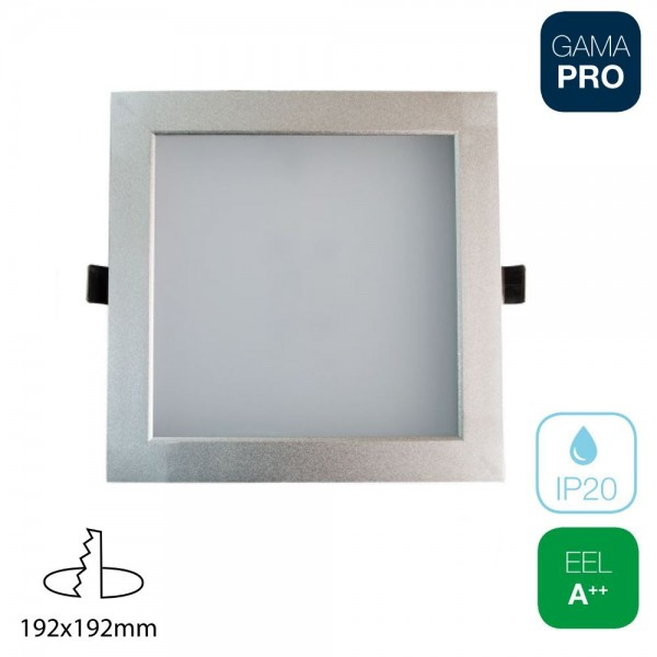 Downlight LED SMD 25W Cuadrado Plata